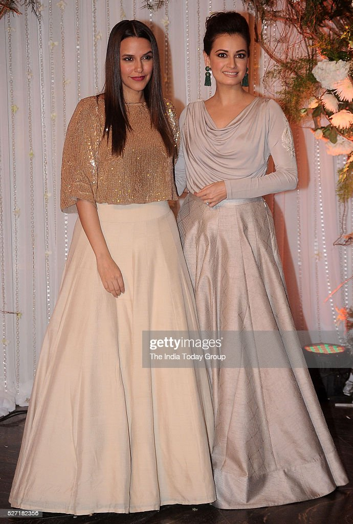 Neha Dhupia and Dia Mirza at Bipasha Basu and Karan Singh Grovers wedding reception ceremony at St Regis Hotel in Mumbai