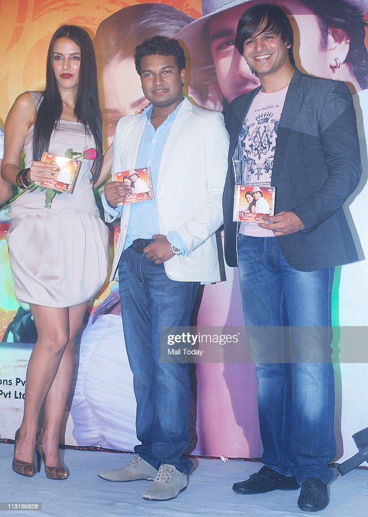 Neha Dhupia Apoorv Gupta and Vivek Oberoi at the launch of `Ek Ladki Shabnmi Jaisi` album