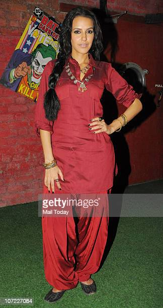 Neha Dhupia at a promotional event for the film Phas Gaye Re Obama in Mumbai on November 30 2010
