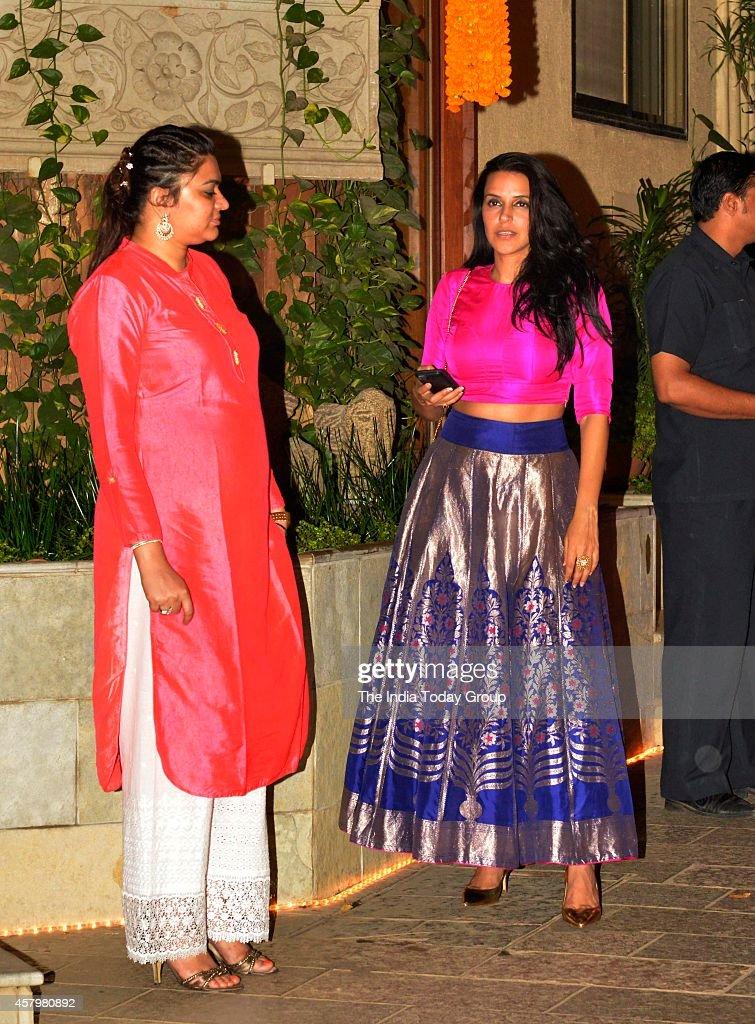 Neha Dhupia at Amitabh Bachchans diwali party in Mumbai