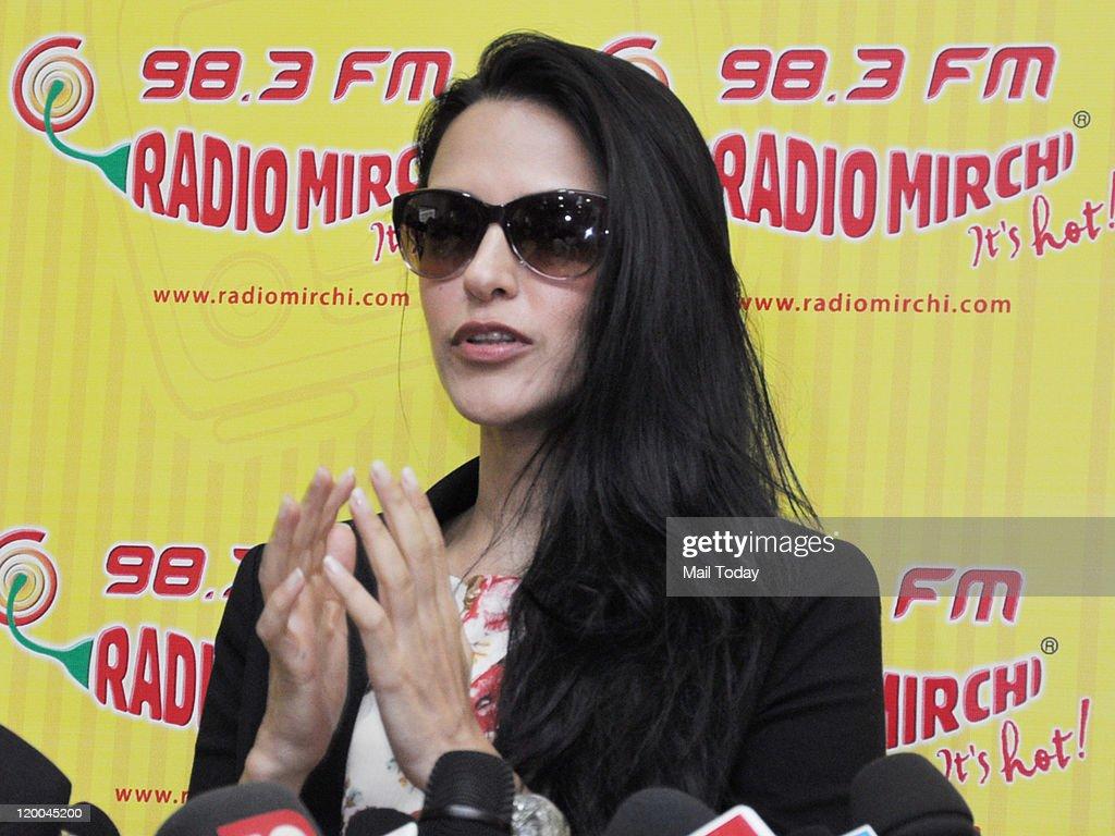 Neha Dhupia at Radio Mirchi to promote her film Gandhi to Hitler in Mumbai on Thursday 28 July 2011