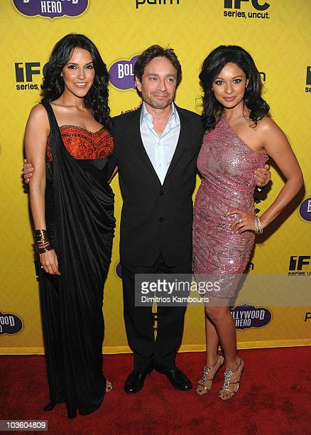 """Neha Dhupia, Chris Kattan and Pooja Kumar attend the premiere of """"Bollywood Hero"""" at the Rubin Museum of Art on August 4, 2009 in New York City."""