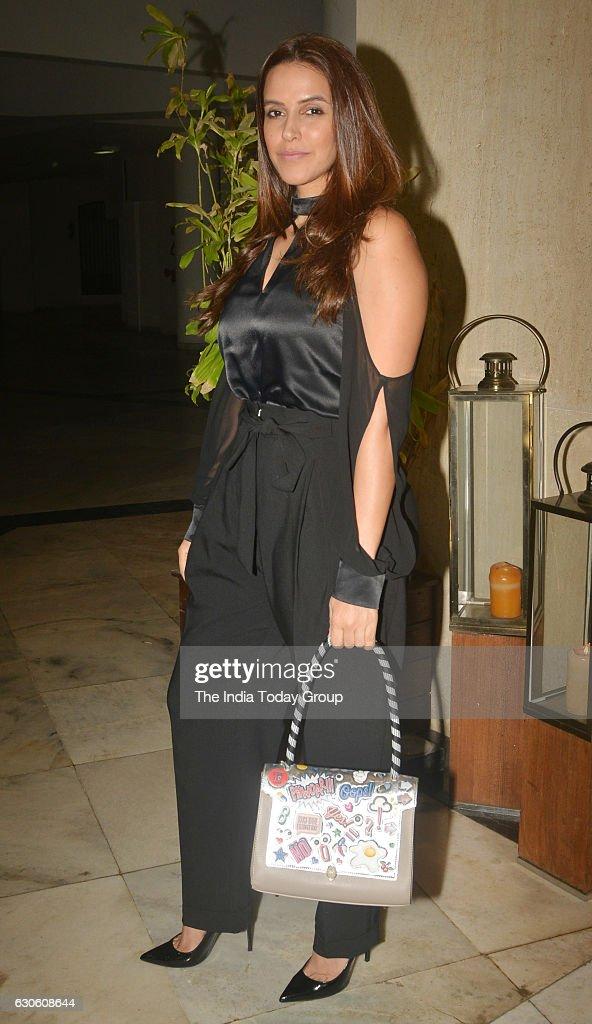 Neha Dhupia during a party hosted by Manish Malhotra at his residence Bandra in Mumbai