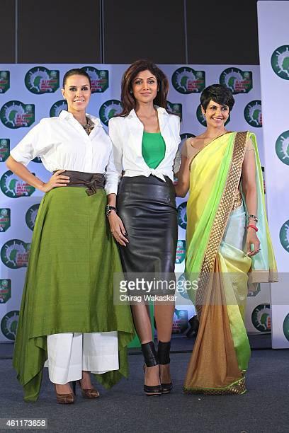 Neha Dhupia, Shilpa Shetty Kundra and Mandira Bedi attend P&G's press conference at Hotel Palladium on January 8, 2015 in Mumbai, India.