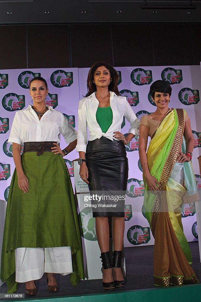 Neha Dhupia Shilpa Shetty Kundra and Mandira Bedi attend PG`s press conference at Hotel Palladium on January 8 2015 in Mumbai India