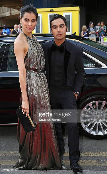 Neha Kapur and Kunal Nayyar arriving in a Audi at the top of the red carpet for the BAFTA TV Awards 2016 at the Royal Festival Hall on May 8 2016 in...