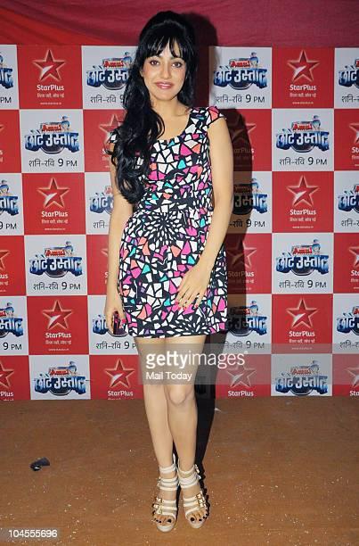 Neha Sharma on the sets of the reality show 'Chhote Ustad' in Mumbai on September 28 2010