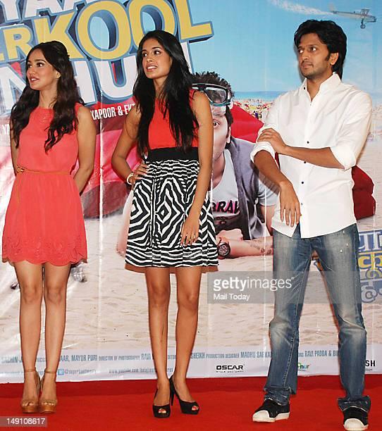 Neha Sharma Sarah Jane Dias and Riteish Deshmukh during the promotion of the movie Kyaa Super Kool Hain Hum at NM College Mumbai on July 21 2012