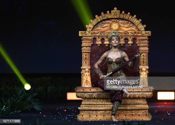 Nehal Chudasama Miss India 2018 walks on stage during the 2018 Miss Universe national costume presentation in Chonburi province on December 10 2018