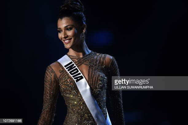 Nehal Chudasama of India competes in the evening gown competition during the 2018 Miss Universe pageant in Bangkok on December 13 2018