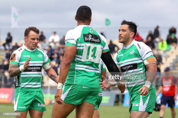 Nehe Milner-Skudder of Manawatu congratulates Nigel Ah Wong on his try during the round 8 Mitre 10 Cup match between Manawatu and Southland at...