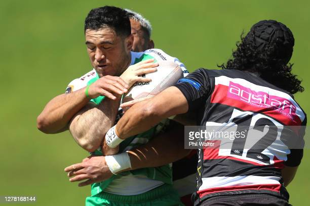 Nehe MilnerSkudder of Manawatu is tackled during the round 4 Mitre 10 Cup match between Counties Manukau and Manawatu at Navigation Homes Stadium on...