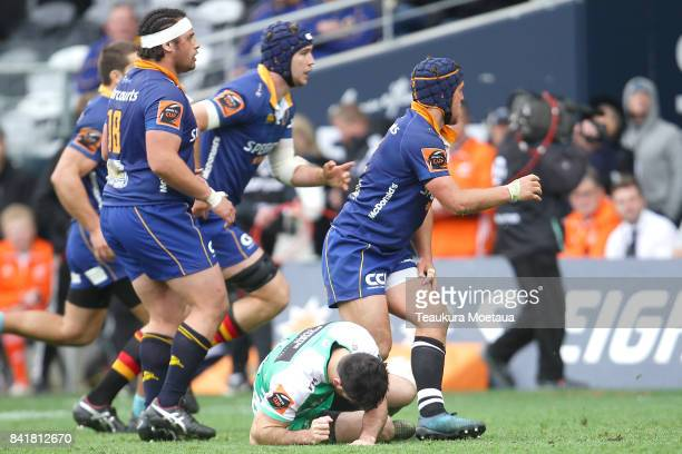 Nehe MilnerSkudder of Manawatu lays injured on the ground during the round three Mitre 10 Cup match between Otago and Manawatu on September 2 2017 in...