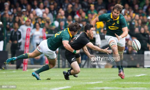 Nehe Milner-Skudder of New Zealand and Jan Serfontein of the Springbok Team during the Rugby Championship 2017 match between South Africa and New...
