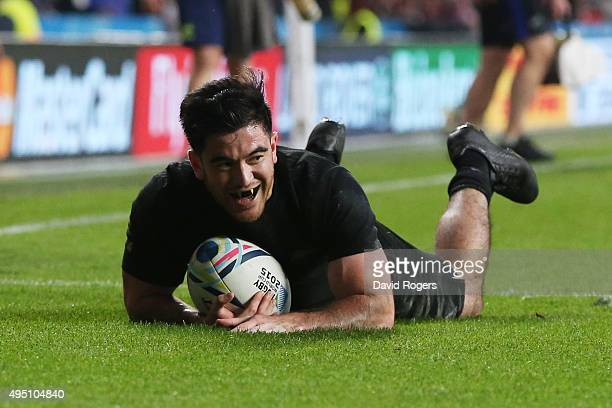 Nehe MilnerSkudder of New Zealand celebrates scoring the first try during the 2015 Rugby World Cup Final match between New Zealand and Australia at...