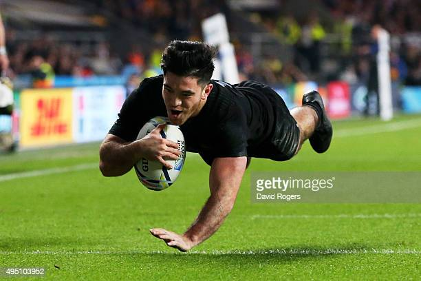 Nehe MilnerSkudder of New Zealand dives over the line to score the first try of the match during the 2015 Rugby World Cup Final match between New...
