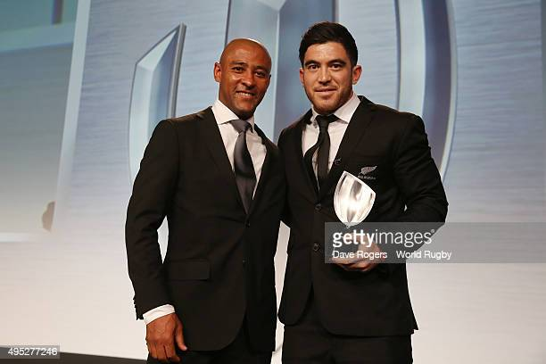 Nehe MilnerSkudder of New Zealand receives the Breakthrough Player of the Year award from George Gregan during the World Rugby Awards 2015 at...