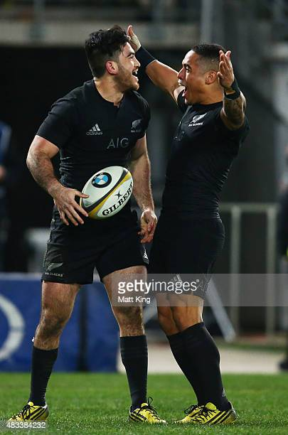 Nehe Milner-Skudder of the All Blacks celebrates with Aaron Smith after scoring a try during The Rugby Championship match between the Australia...