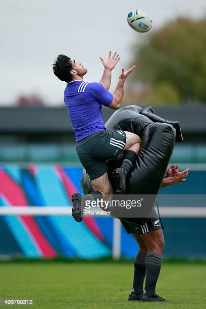 Nehe Milner-Skudder of the All Blacks collects the high ball during a New Zealand All Blacks training session at London Irish on October 22, 2015 in...