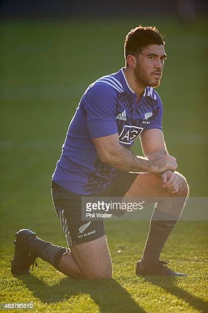Nehe Milner-Skudder of the All Blacks during a New Zealand All Blacks training session at Eden Park on August 13, 2015 in Auckland, New Zealand.