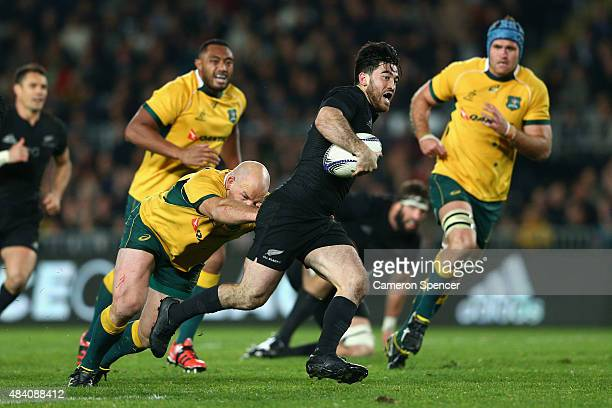 Nehe Milner-Skudder of the All Blacks makes a break during The Rugby Championship, Bledisloe Cup match between the New Zealand All Blacks and the...