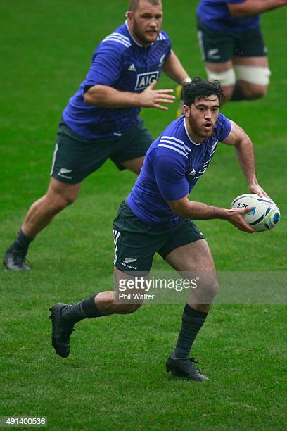 Nehe Milner-Skudder of the All Blacks passes during a New Zealand All Blacks training session at Mowden Park on October 5, 2015 in Darlington, United...