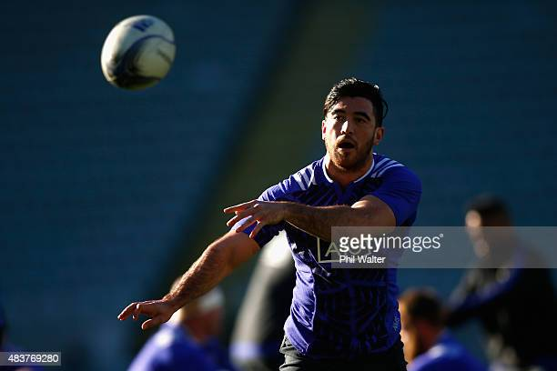 Nehe Milner-Skudder of the All Blacks passes the ball during a New Zealand All Blacks training session at Eden Park on August 13, 2015 in Auckland,...