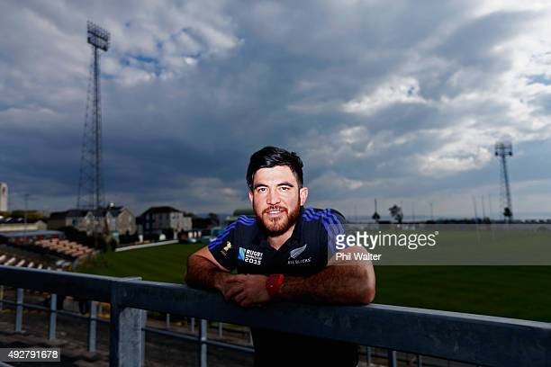 Nehe Milner-Skudder of the All Blacks poses for a portrait following a New Zealand All Blacks team announcement at the Swansea RFC on October 15,...