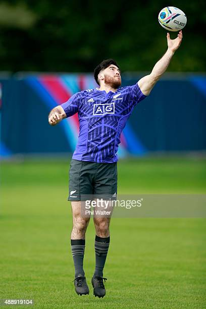Nehe Milner-Skudder of the All Blacks takes a catch during a New Zealand All Blacks training session at Lensbury on September 18, 2015 in London,...