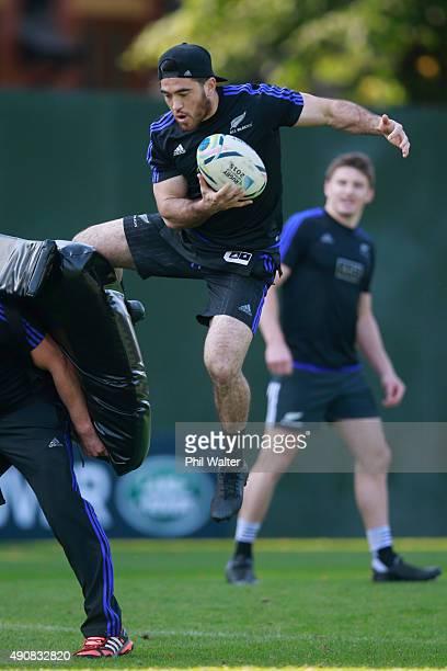 Nehe Milner-Skudder of the All Blacks takes the high ball during a New Zealand All Blacks Captain's Run at Sophia Gardens on October 1, 2015 in...