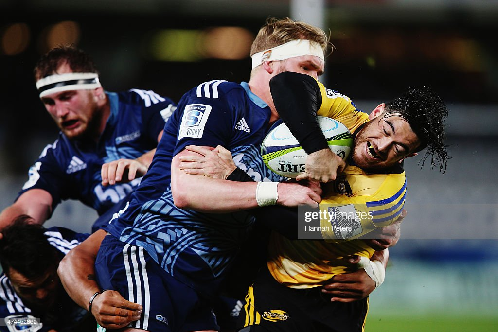 Nehe Milner-Skudder of the Hurricanes charges forward during the round 15 Super Rugby match between the Blues and the Hurricanes at Eden Park on May 23, 2015 in Auckland, New Zealand.