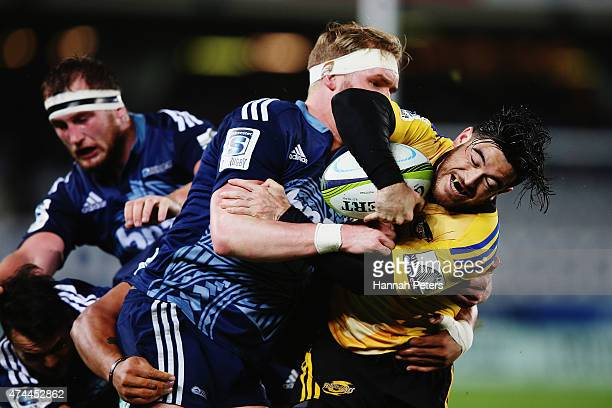 Nehe Milner-Skudder of the Hurricanes charges forward during the round 15 Super Rugby match between the Blues and the Hurricanes at Eden Park on May...