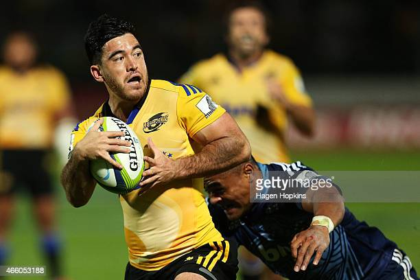 Nehe MilnerSkudder of the Hurricanes looks to pass during the round five Super Rugby match between the Hurricanes and the Blues at Arena Manawatu on...