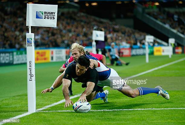 Nehe Milner-Skudder of the New Zealand All Blacks scores his teams fifth try during the 2015 Rugby World Cup Pool C match between New Zealand and...