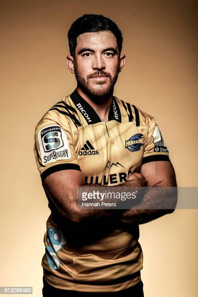 Nehe Milner-Skudder poses during the Wellington Hurricanes 2018 Super Rugby headshots session on January 22, 2017 in Auckland, New Zealand.