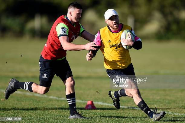 Nehe Milner-Skudder runs with the ball during a Highlanders Super Rugby training session at Hancock Park on July 10, 2020 in Dunedin, New Zealand.