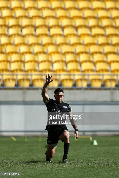 Nehe MilnerSkudder warms up during a Hurricanes Super Rugby Captain's Run at Westpac Stadium on April 26 2018 in Wellington New Zealand