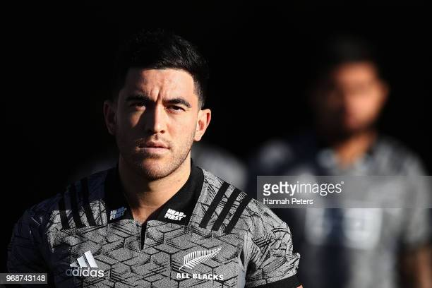 Nehe MilnerSkudder warms up during a New Zealand All Blacks training session on June 7 2018 in Auckland New Zealand