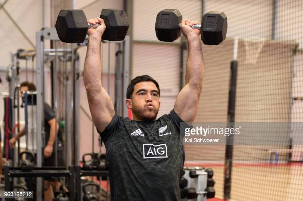 Nehe MilnerSkudder works out during a New Zealand All Blacks gym session at the Apollo Projects Centre high performance training facility on May 28...