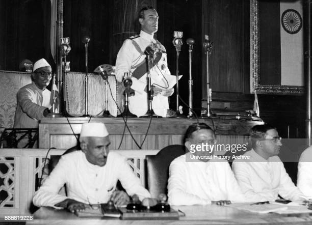 Nehru listens as the Viceroy of India Lord Mountbatten declares India's Independence 1947 Jawaharlal Nehru first Prime Minister of India and a...