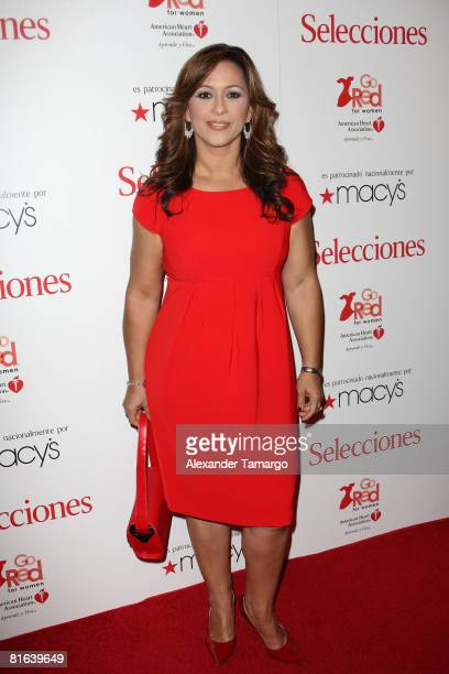 Neida Sandoval poses at the Selecciones and American Heart Association Go For Red reception at the Ritz Carlton Coconut Grove on June 19 2008 in...