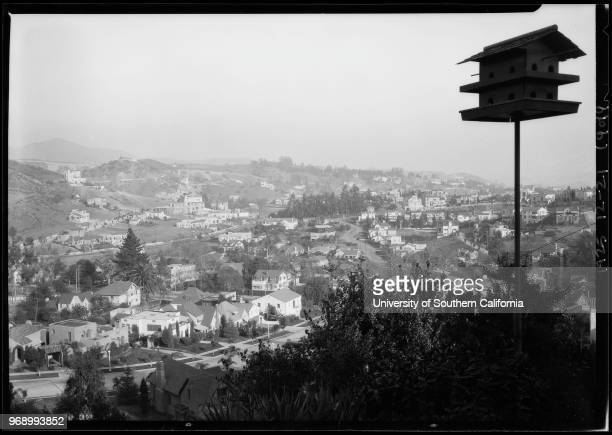 Neighborhood and interior and exterior of house 2200 Broad View Hollywood Los Angeles California 1925