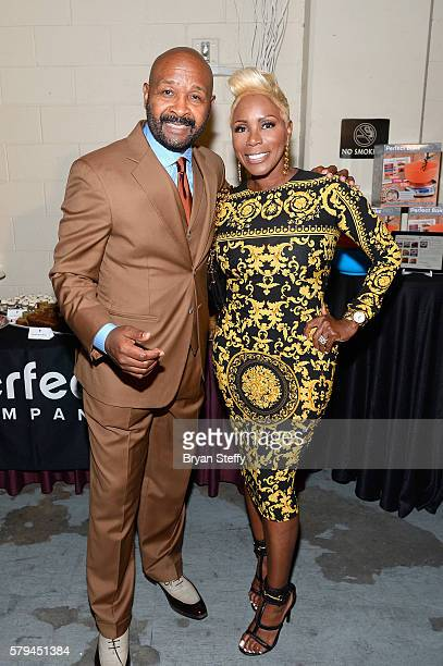 Neighborhood Awards Executive Producer Rushion McDonald and comedian Sommore pose backstage during the 2016 Neighborhood Awards hosted by Steve...
