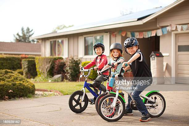 Neighborhood boys on bikes
