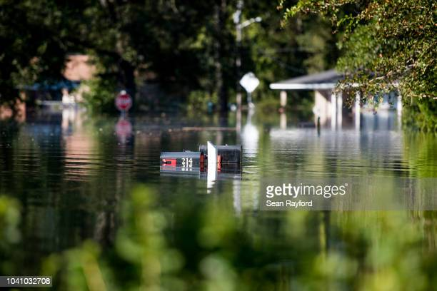 Neighborhood is inundated by floodwaters caused by Hurricane Florence near the Crabtree Swamp on September 26, 2018 in Conway, South Carolina. Nearly...
