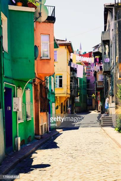 Neighborhood of colorful houses in Istanbul, Turkey