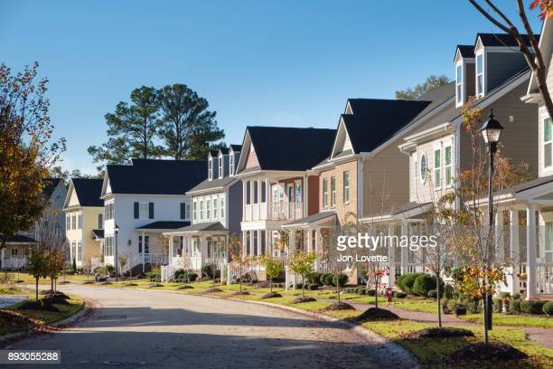 neighborhood with sidewalk usa - clemson south carolina stock pictures, royalty-free photos & images