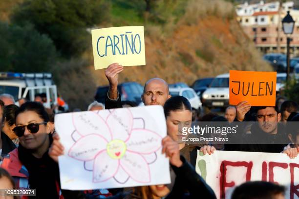 Neighbors gather to show their support for the family of toddler Julen Rosello who fell down a well last Sunday on January 17 2019 in Málaga Spain...