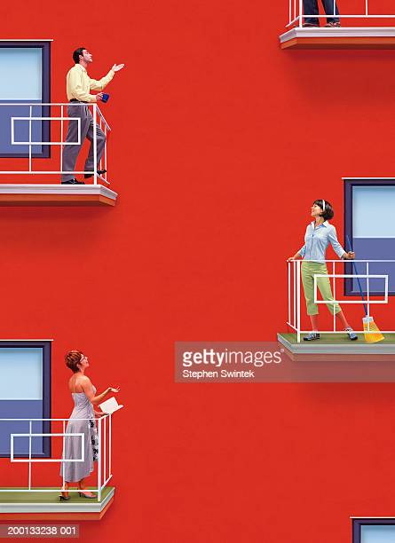 neighbors standing on balconys of apartment, talking - balcony stock pictures, royalty-free photos & images