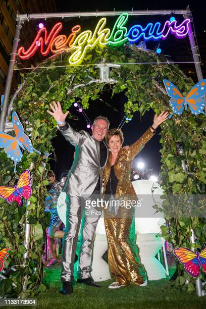 Neighbours cast dance away on their own Ramsay street float during the 2019 Sydney Gay Lesbian Mardi Gras Parade on March 02 2019 in Sydney Australia...